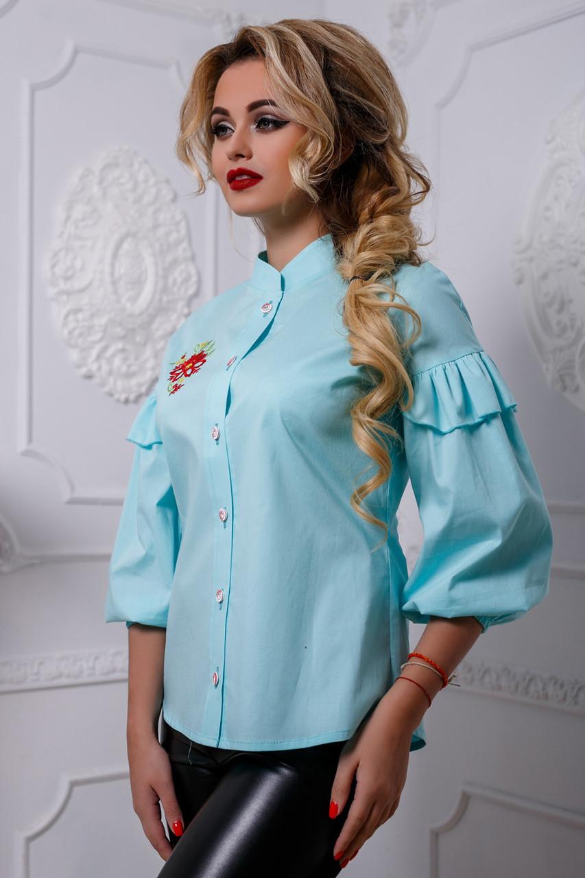 Красивая женская блуза PREMIUM 2582 бирюзовый