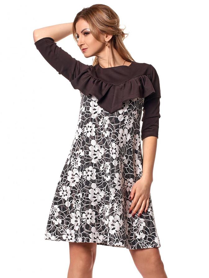 2638753007f Женское трикотажное платье черного цвета с белым гипюром. Модель 1047.  Размеры 44-50