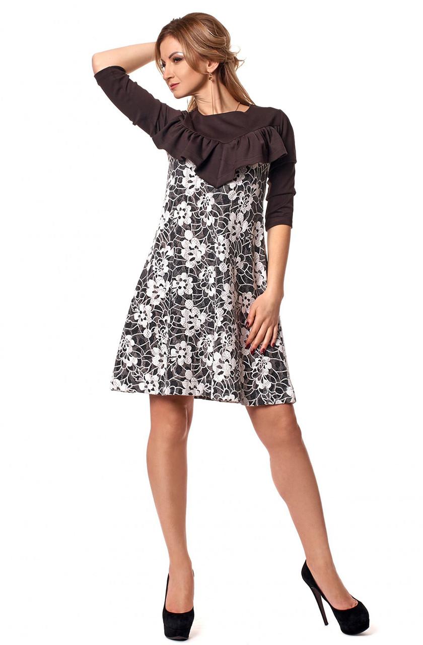 40380c6f8b4 Женское трикотажное платье черного цвета с белым гипюром. Модель 1047.