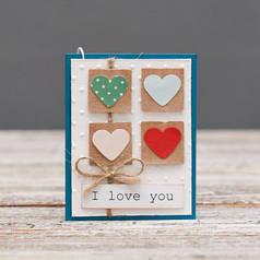 Мини открытка I love you Я люблю тебя 4 сердечка