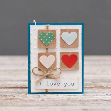 Мини открытка I love you Я люблю тебя 4 сердечка, фото 2
