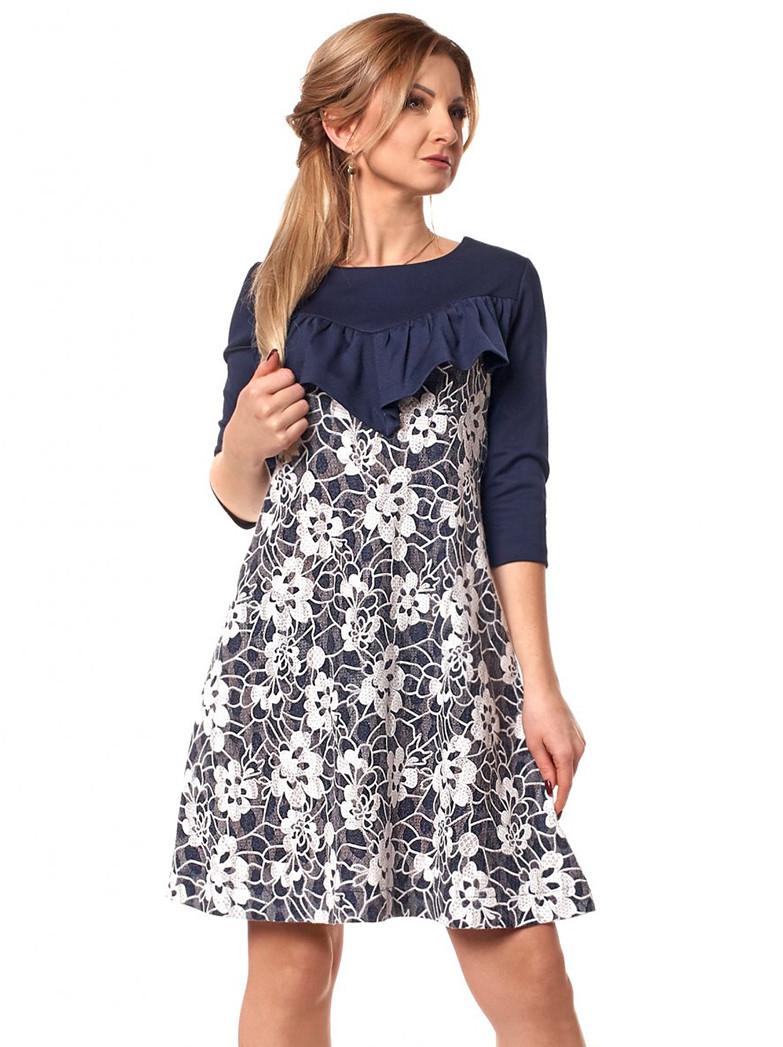 ad3b60e9fbe Женское трикотажное платье темно-синего цвета с гипюром. Модель 1047.  Размеры 44-