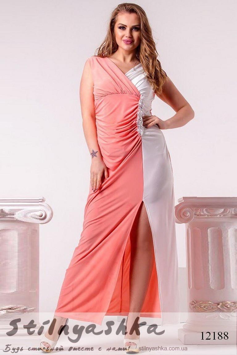 6446d7325f1b Вечернее платье для полных с разрезом на ноге персик с белым