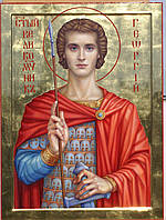 Сусальное золочение иконы Святого Георгия.