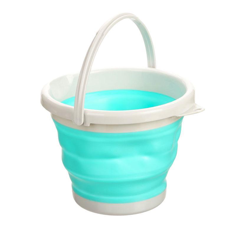 Ведро складное голубое, круглое 5 литров.