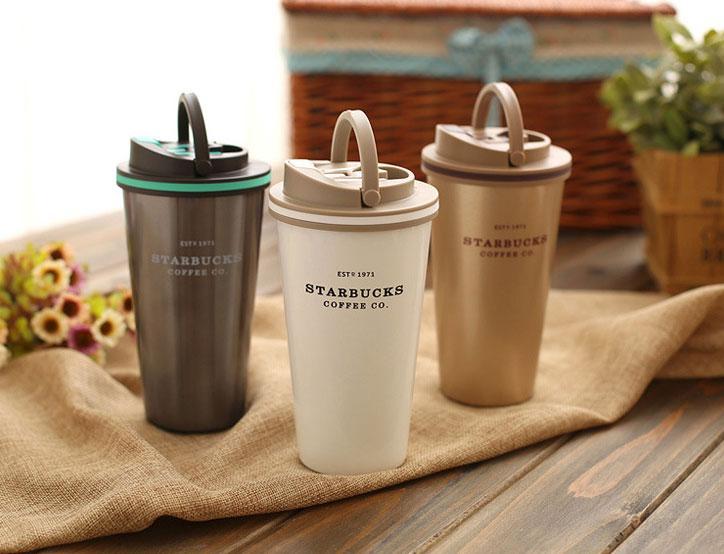 Термокружка  с ручкой Starbucks (Темное серебро) (Мятая упаковка)