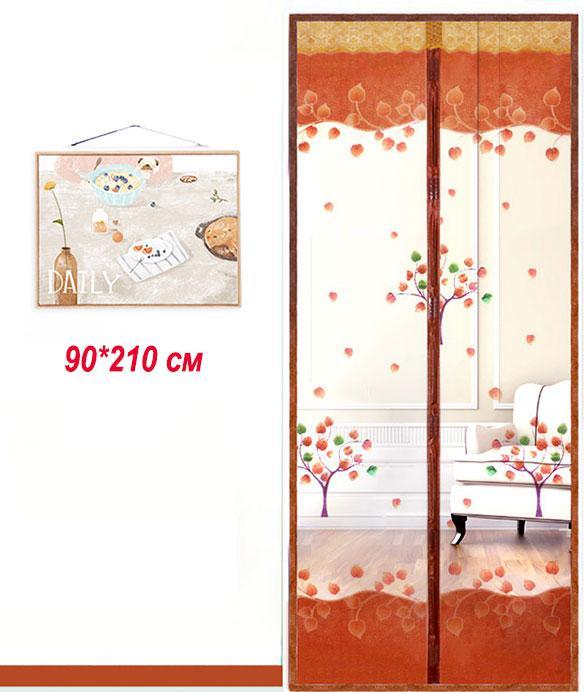 Антимоскитные сетки (кофейный цвет c рисунком) на двери на магнитах. 9