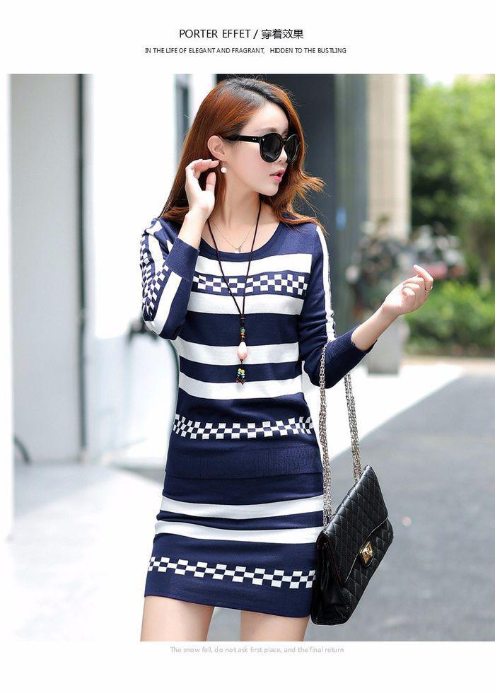 Вязаное полосатое платье-(набор из двух частей).