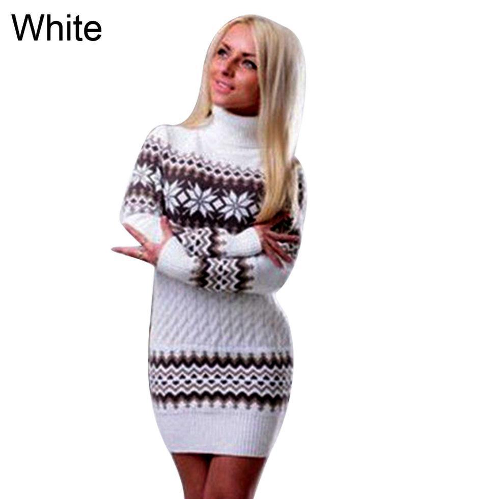 Вязаное свитер платье-пуловер -(Снежинка)
