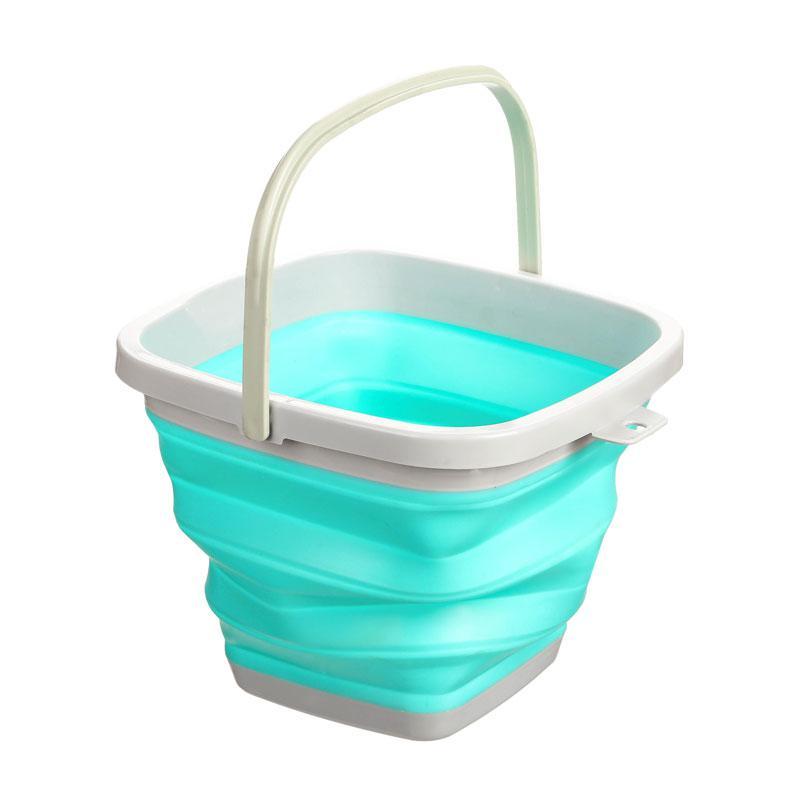 Ведро складное голубое, квадратное 10 литров.