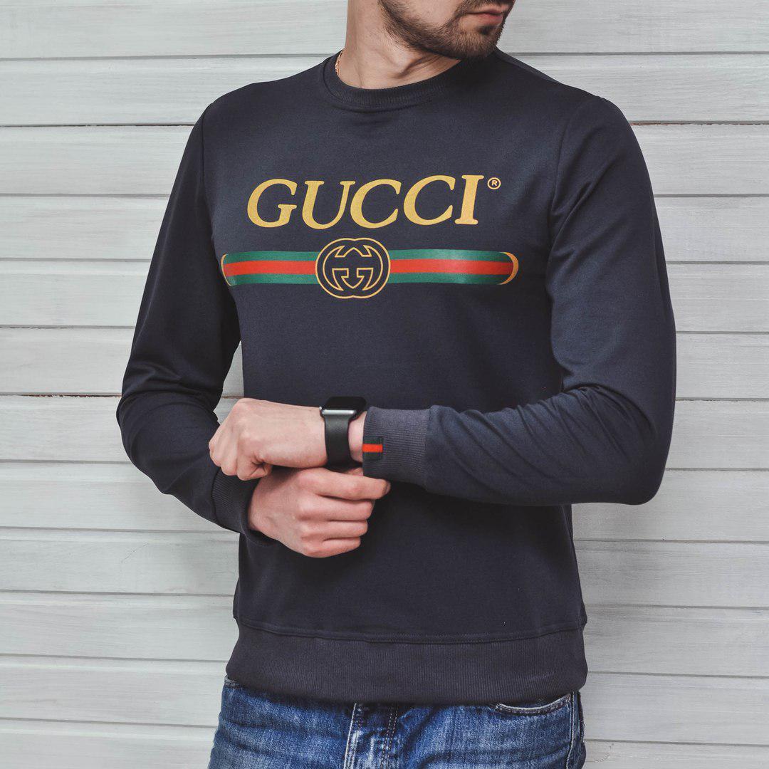 178404f0f76f Мужской свитшот кофта Gucci Embroidered Blind Grey (Реплика AAA+) -  Интернет-магазин