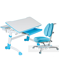 Регулируемая парта FunDesk Volare Blue + Детское ортопедическое кресло Primavera II Blue, фото 2