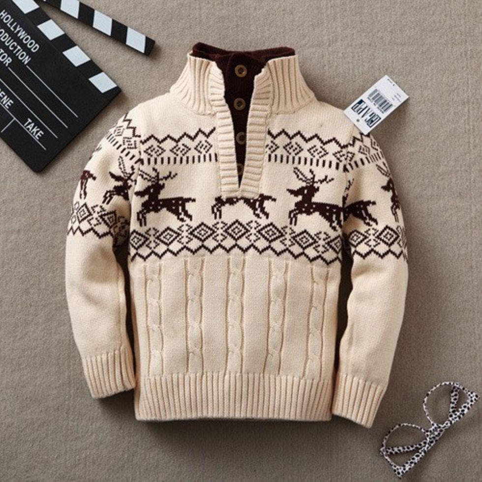 Вязаный шерстяной свитер для мальчиков.