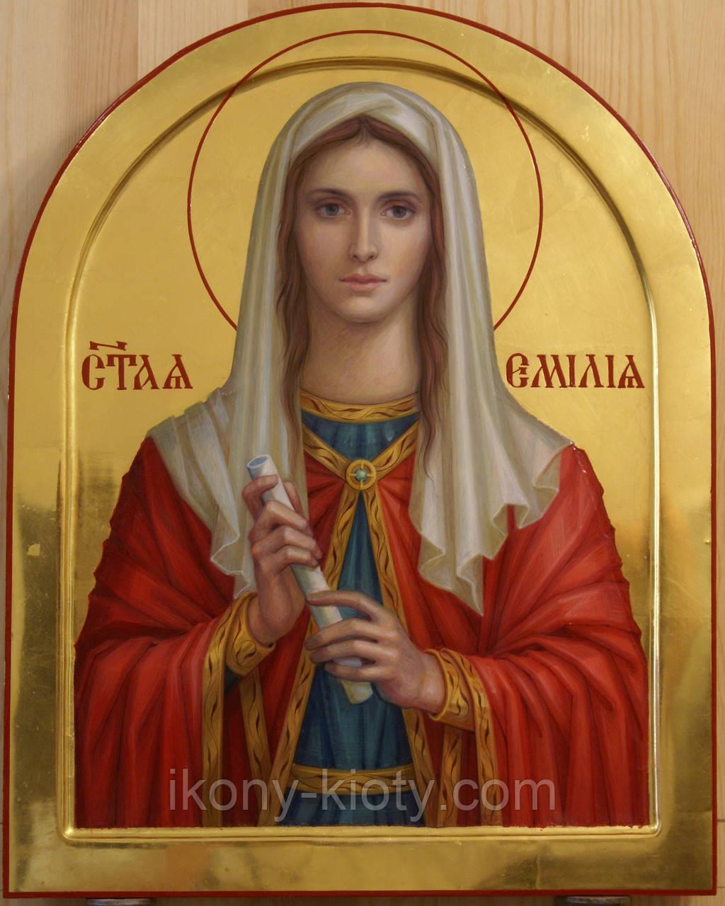 Сусальное золочение иконы Святой Эмилии.