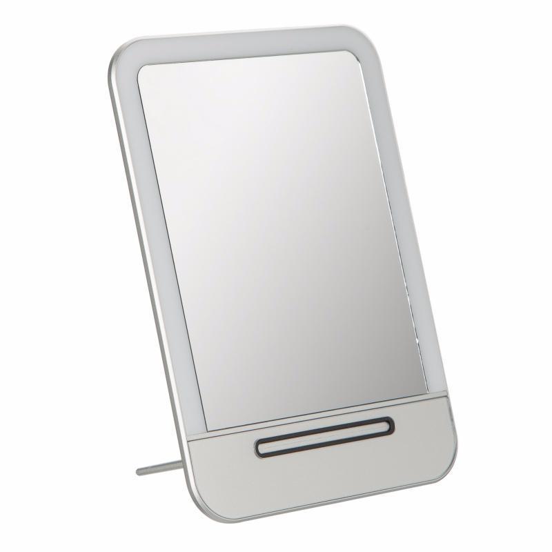 Зеркало с LED подсветкой. Заряжается от USB. Серебристый