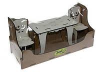 Мебель BigEcoToys Стол квадратный+два стула 17632