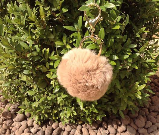 Меховые брелоки на сумку Помпоны. Беж, фото 2