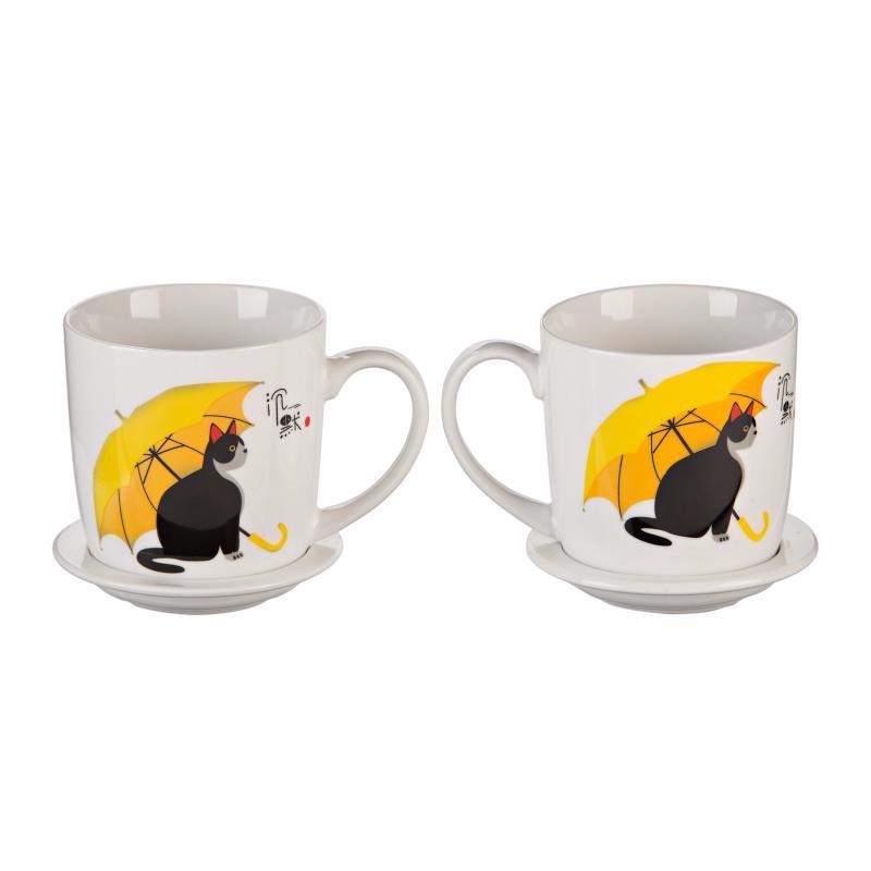 """Подарочный набор """"Кот с зонтом"""" (2 чашки, крышки, ложки). (Уценка)"""