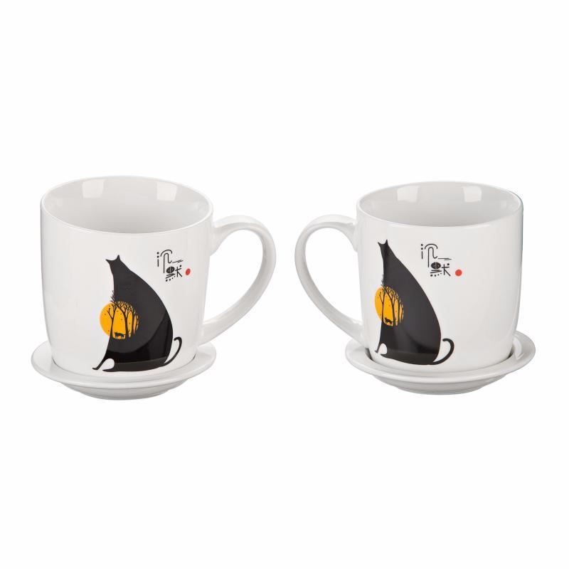 """Подарочный набор """"Солнце-Кот"""" (2 чашки, крышки, ложки). (Присутствует деффект)"""