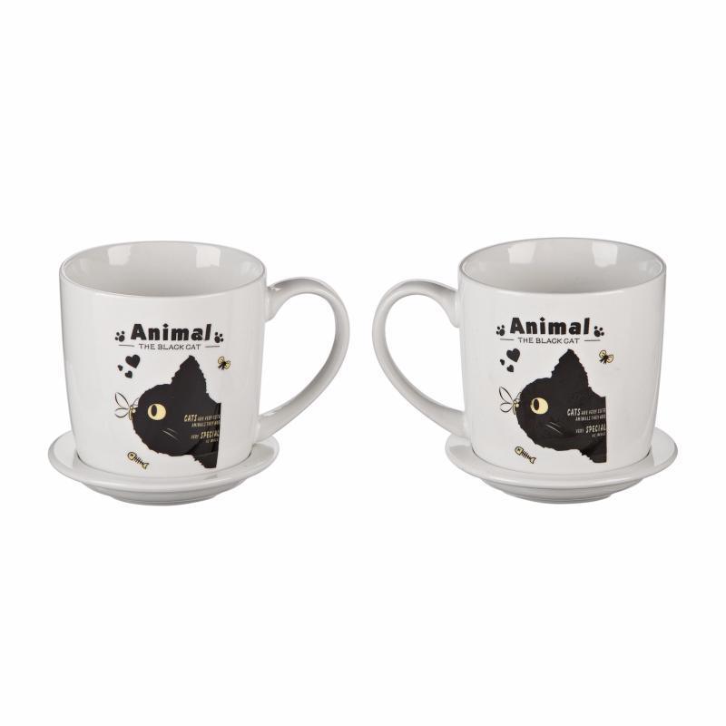 """Подарочный набор """"Черный кот и стрекоза"""" (2 чашки, крышки, ложки) (Присутствует деффект)"""