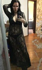 Длинный пеньюар-платье для беременных (черный)