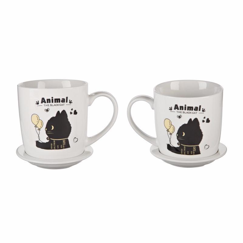 """Подарочный набор """"Черный кот с шариками"""" (2 чашки, крышки, ложки) (Присутствует деффект)"""