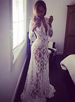 Длинное эффектное платье-пеньюар из кружева для фотосессии, на романтический вечер белый