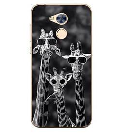 Чехол силиконовый бампер для Huawei honor 6A с картинкой  три жирафа