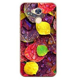 Чехол силиконовый бампер для Huawei honor 6A с картинкой листья