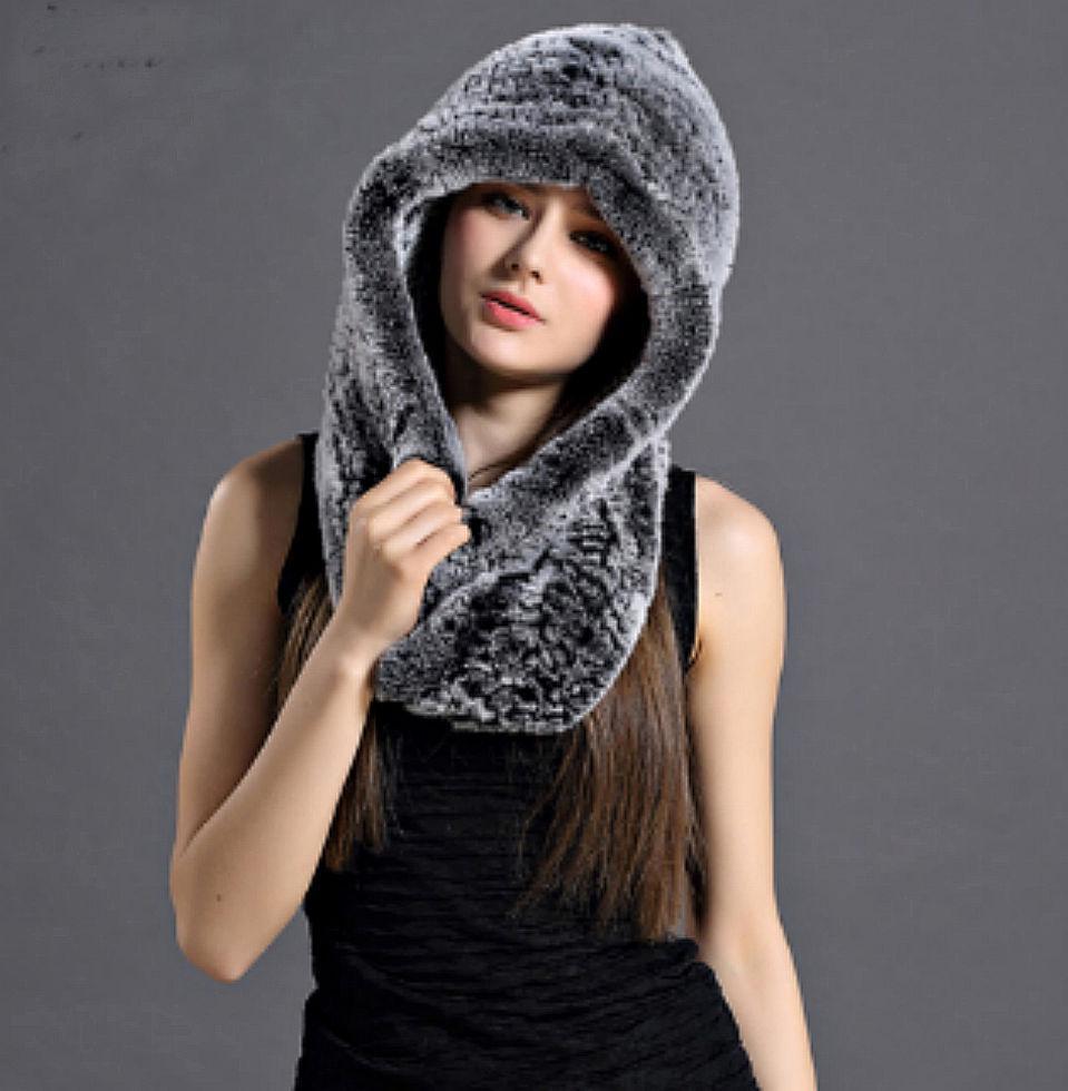 Зимние меховые шапочки с натурального кролика с длинным шарфом двойного назначения.