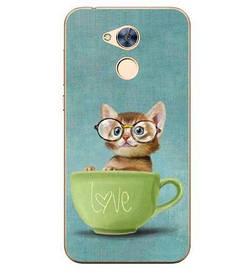 Панель накладка силиконовая для Huawei honor 6A с рисунком  котик в чашке и очках