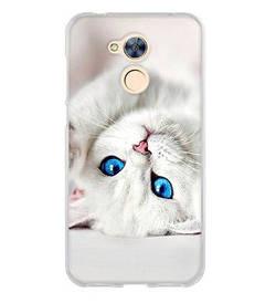 Панель накладка силиконовая для Huawei honor 6A с рисунком белый котик