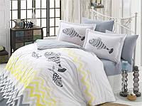 Комплект постельного белья  Hobby поплин размер евро Ocean серый-желтый