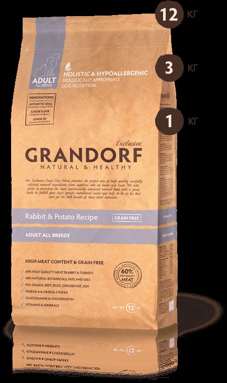 Grandorf Sensitive ADULT ALL BREEDS Rabbit&Potato 12 кг-корм для собак всех пород (кролик/картофель)