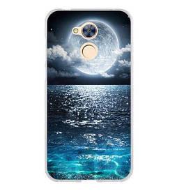 Бампер силиконовый для Huawei honor 6A с печатным рисунком луна