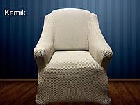 АКЦИЯ!!Чехол без юбки  на диван + 2 кресла Premium, бежевые чехлы полностью обтягивают мягкую мебель