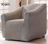 АКЦИЯ!!!Чехол без юбки  на диван + 2 кресла Premium, кремовый чехлы полностью обтягивают мебель