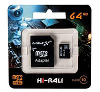 Карта памяти micro SDHC (UHS-1) HI-RALI 64GB class 10, 48Mb/s (с адаптером)