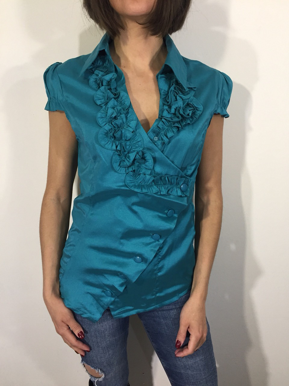 Рубашка женская 10038 зеленая S/M