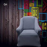 АКЦИЯ!!!Чехол без юбки  на диван + 2 кресла Premium, серый чехлы полностью обтягивают мебель