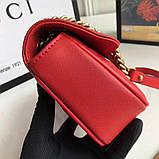 Сумка, клатч Гуччи Marmont натуральная кожа 22 см, цвет красный, фото 2