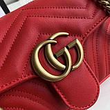 Сумка, клатч Гуччи Marmont натуральная кожа 22 см, цвет красный, фото 3