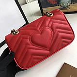 Сумка, клатч Гуччи Marmont натуральная кожа 22 см, цвет красный, фото 4