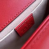 Сумка, клатч Гуччи Marmont натуральная кожа 22 см, цвет красный, фото 5