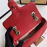 Сумка, клатч Гуччи Marmont натуральная кожа 22 см, цвет красный, фото 6