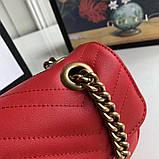 Сумка, клатч Гуччи Marmont натуральная кожа 22 см, цвет красный, фото 9