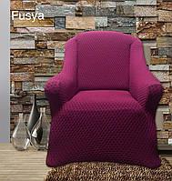 АКЦИЯ!!!Чехол без юбки  на диван + 2 кресла Premium, малиновый чехлы полностью обтягивают