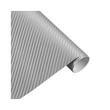 Карбонова плівка 3D рулон 40х150 см СРІБНА
