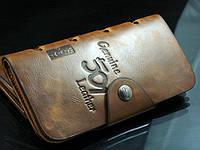 Кошелек мужской бумажник визитница Bailini длинный 501 с вырезами, фото 1