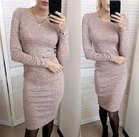 Теплое платье с пуговками на рукавах из ангоры